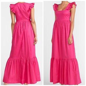 Express Neon Berry Ruffles Sleeve Maxi Dress